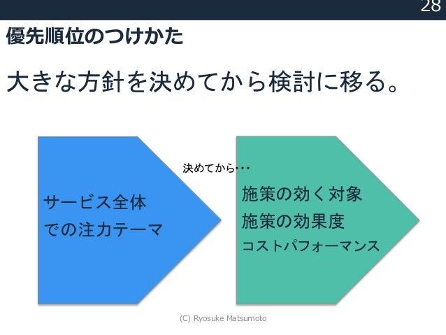 優先順位のつけかた 大きな方針を決めてから検討に移る。 28 サービス全体 での注力テーマ 施策の効く対象 施策の効果度 コストパフォーマンス 決めてから・・・ (C) Ryosuke Matsumoto