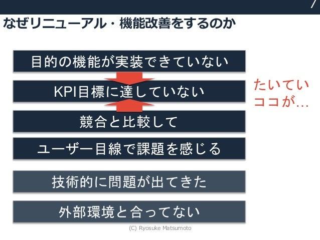 なぜリニューアル・機能改善をするのか 7 目的の機能が実装できていない KPI目標に達していない 競合と比較して 技術的に問題が出てきた 外部環境と合ってない ユーザー目線で課題を感じる たいてい ココが… (C) Ryosuke Matsum...