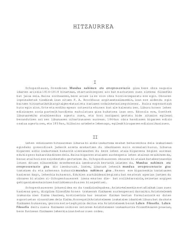 HITZAURREA                                                       I      Schopenhauer, Dresdenen Mundu a nahi m e n et a er...