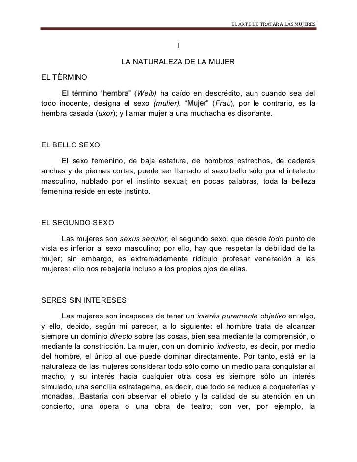 EL ARTE DE TRATAR A LAS MUJERES                                        I                       LA NATURALEZA DE LA MUJEREL...