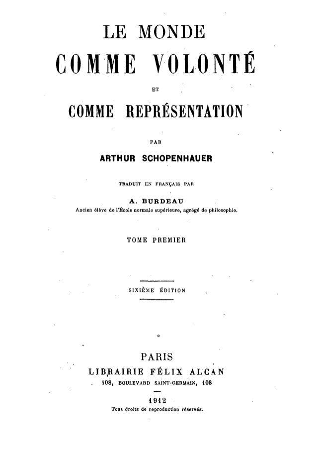 Schopenhauer - le monde comme volonté et représentation