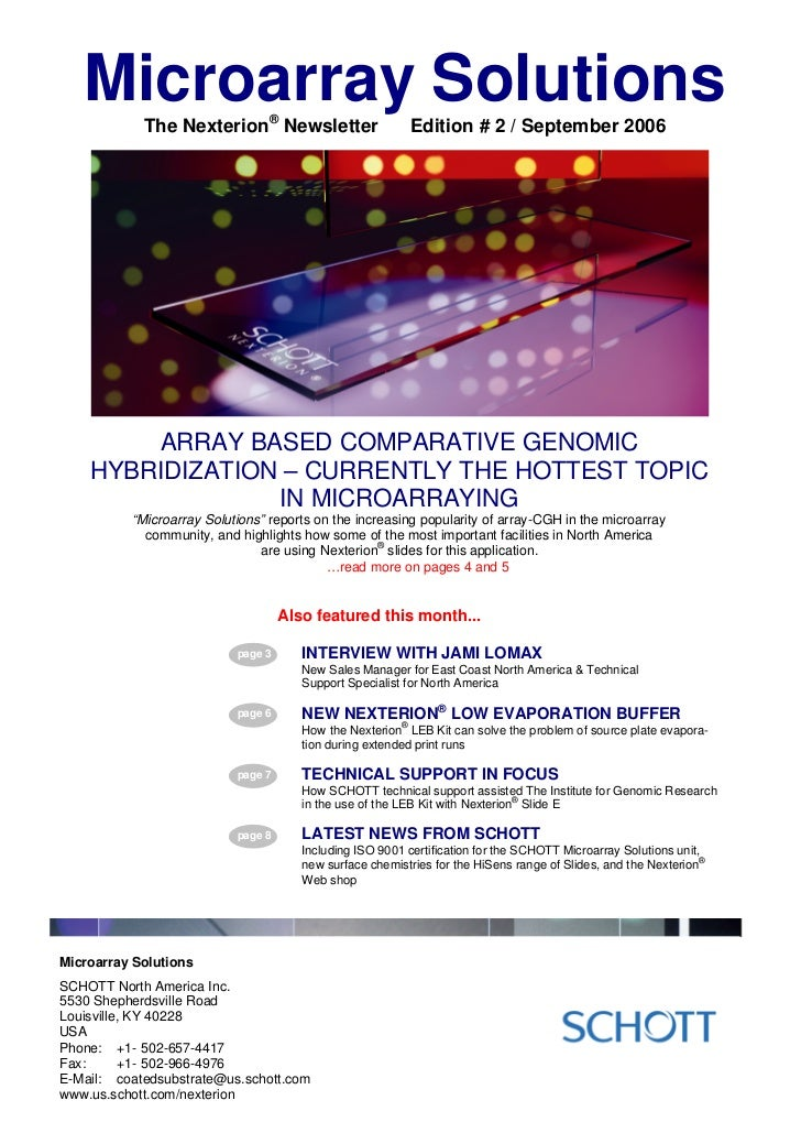 Microarray Solutions            The Nexterion® Newsletter                     Edition # 2 / September 2006        ARRAY BA...
