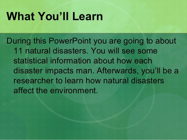 The Impact of Natural Disasters