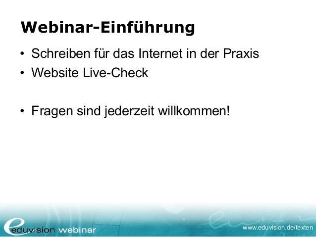 Gratis-Webinar Schreiben für das Internet  - Eduvision Ausbildungen Slide 2