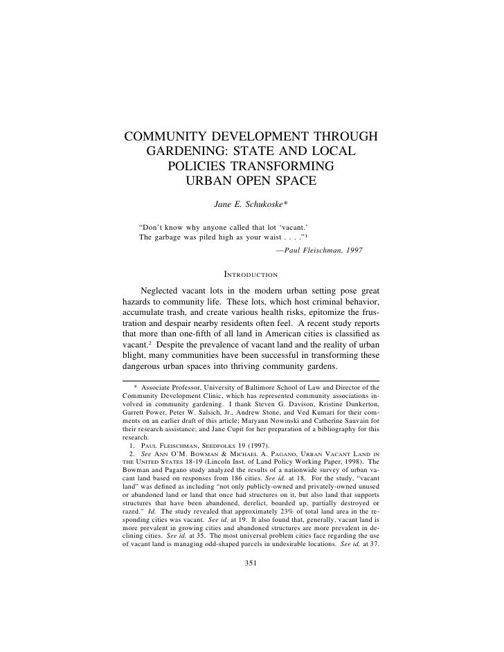COMMUNITY DEVELOPMENT THROUGH  GARDENING: STATE AND LOCAL    POLICIES TRANSFORMING      URBAN OPEN SPACE                  ...