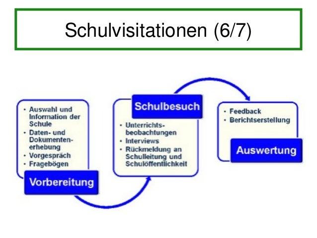 Schulvisitationen (7/7)• Fazit nach dem ersten Zyklus: – Schulen entwickeln Plä ne und erste   Verbesserungsmaßnahmen – in...