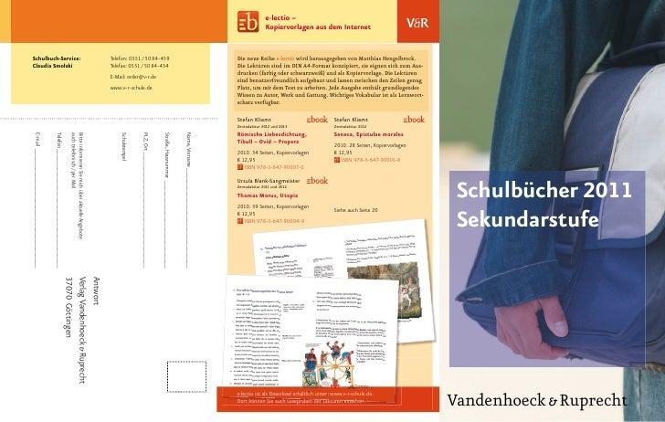Schulbücher 2011  Sekundarstufe     Vandenhoeck & Ruprecht