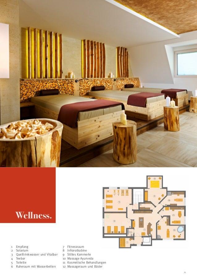 Wellness. 1 2 3 4 5 6  Empfang Solarium Quelltrinkwasser und Vitalbar Teebar Toilette Ruheraum mit Wasserbetten  7 ...