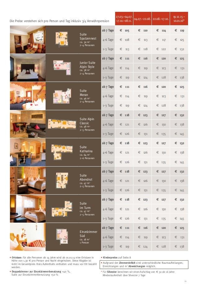 11 27.03.–04.07. 17.10.–08.11. 04.07.–22.08. 22.08.–17.10. 19.12.15 – 10.01.16* Suite Spatzennest ca. 30 m2 2–4 Personen a...