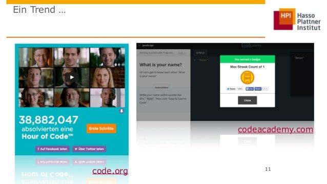 Ein Trend …  codeacademy.com  11  code.org