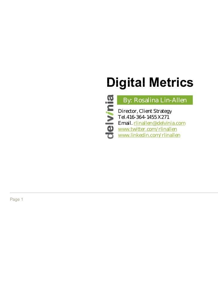 Digita Metrics              al            By: Ro                 osalina Lin-Allen          Director, Cli           i     ...