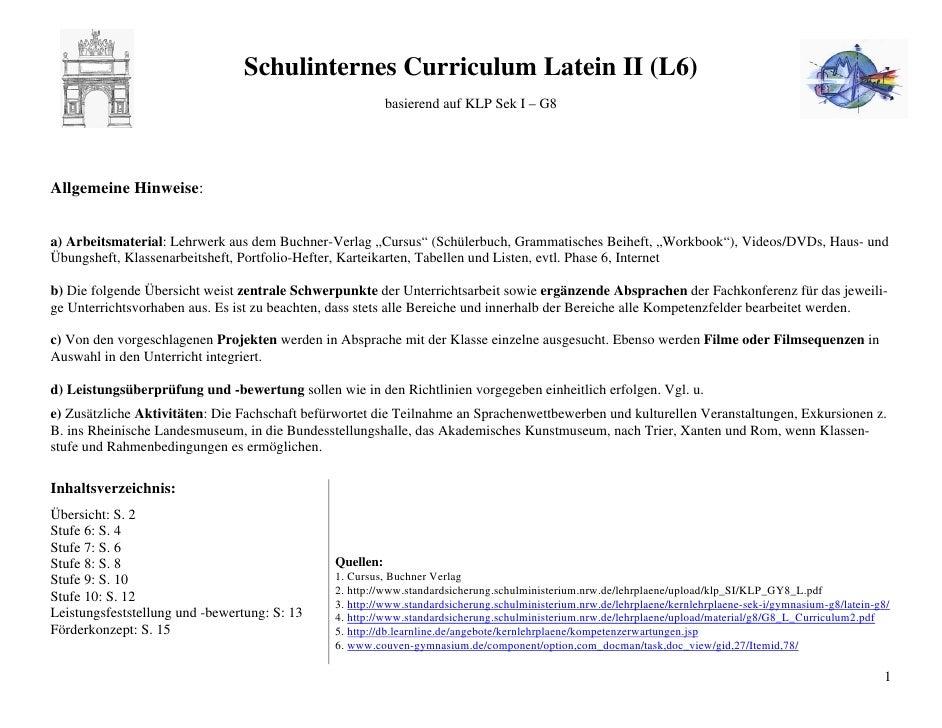 Schulinternes Curriculum Latein II (L6)                                                          basierend auf KLP Sek I –...