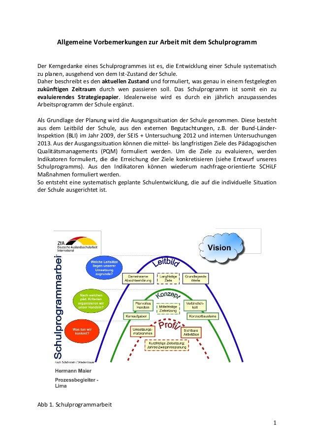 1 Allgemeine Vorbemerkungen zur Arbeit mit dem Schulprogramm Der Kerngedanke eines Schulprogrammes ist es, die Entwicklung...