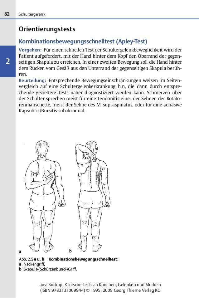 82 2 aus: Buckup, Klinische Tests an Knochen, Gelenken und Muskeln (ISBN 9783131009944) © 1995, 2009 Georg Thieme Verlag K...