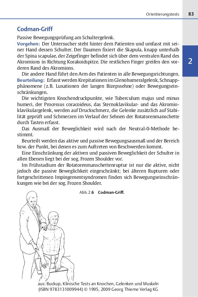 83 2 aus: Buckup, Klinische Tests an Knochen, Gelenken und Muskeln (ISBN 9783131009944) © 1995, 2009 Georg Thieme Verlag K...