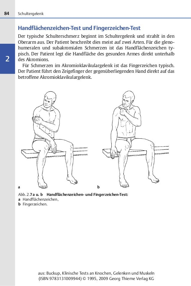 84 2 aus: Buckup, Klinische Tests an Knochen, Gelenken und Muskeln (ISBN 9783131009944) © 1995, 2009 Georg Thieme Verlag K...