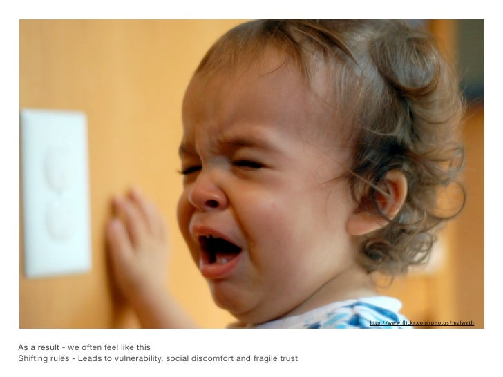 http://www.flickr.com/photos/malwethAs a result - we often feel like thisShifting rules - Leads to vulnerability, social di...