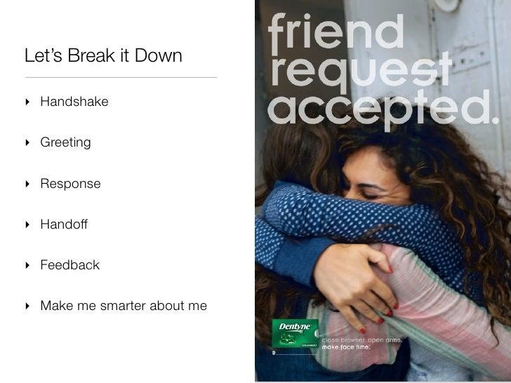 Let's Break it Down‣ Handshake‣ Greeting‣ Response‣ Handoff‣ Feedback‣ Make me smarter about me