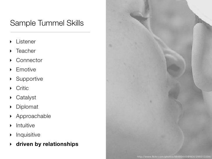 Sample Tummel Skills‣ Listener‣ Teacher‣ Connector‣ Emotive‣ Supportive‣ Critic‣ Catalyst‣ Diplomat‣ Approachable‣ Intuiti...