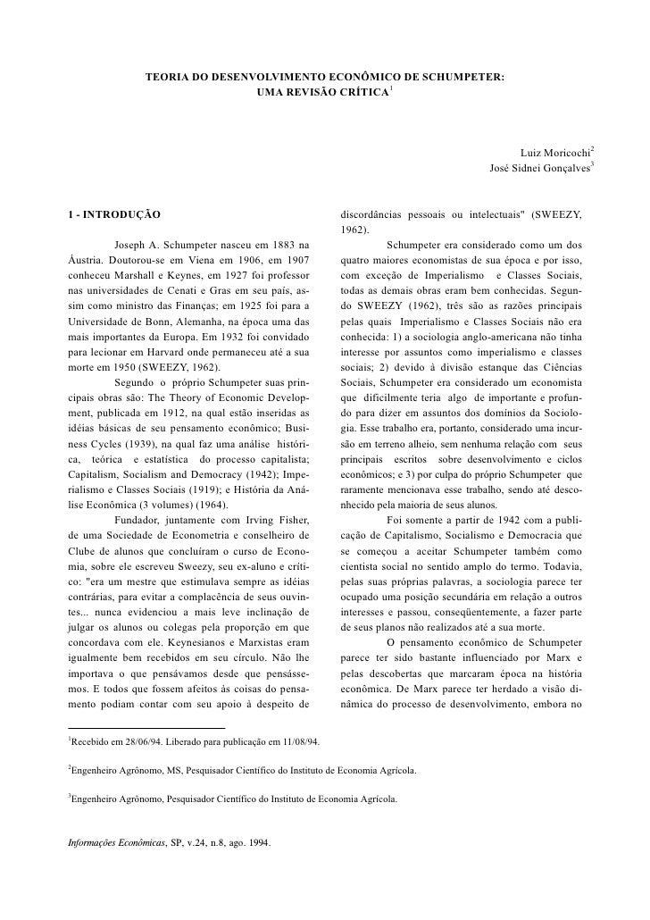 TEORIA DO DESENVOLVIMENTO ECONÔMICO DE SCHUMPETER:                                   UMA REVISÃO CRÍTICA1                 ...