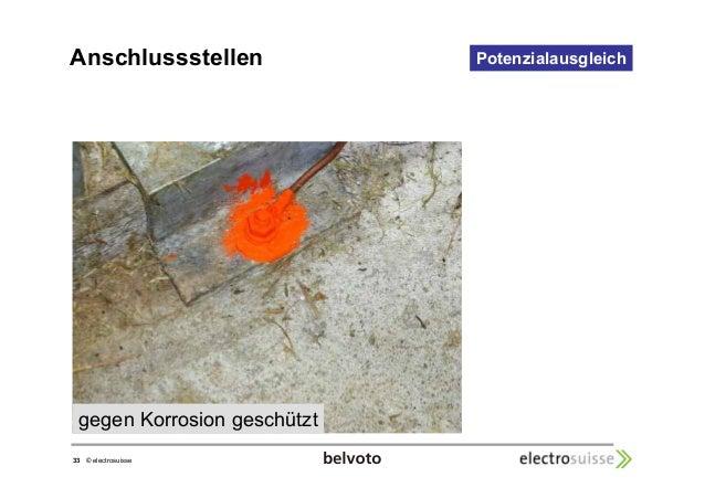 Anschlussstellen  33 © electrosuisse  Potenzialausgleich  gegen Korrosion geschützt