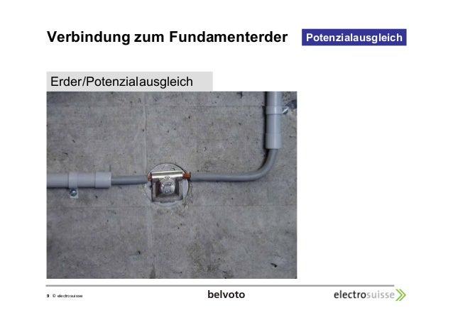 Verbindung zum Fundamenterder  9 © electrosuisse  Potenzialausgleich  Erder/Potenzialausgleich