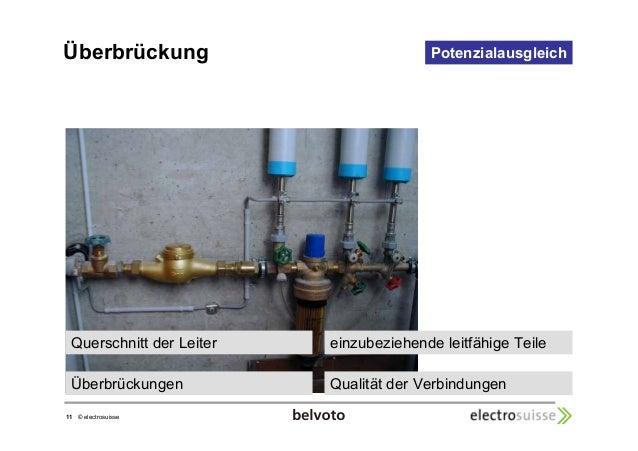 Überbrückung  Querschnitt der Leiter  11 © electrosuisse  Potenzialausgleich  einzubeziehende leitfähige Teile  Überbrücku...