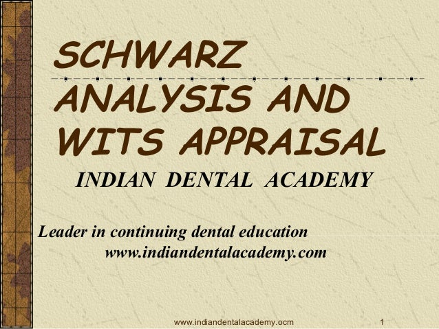 SCHWARZ ANALYSIS AND WITS APPRAISAL INDIAN DENTAL ACADEMY Leader in continuing dental education www.indiandentalacademy.co...