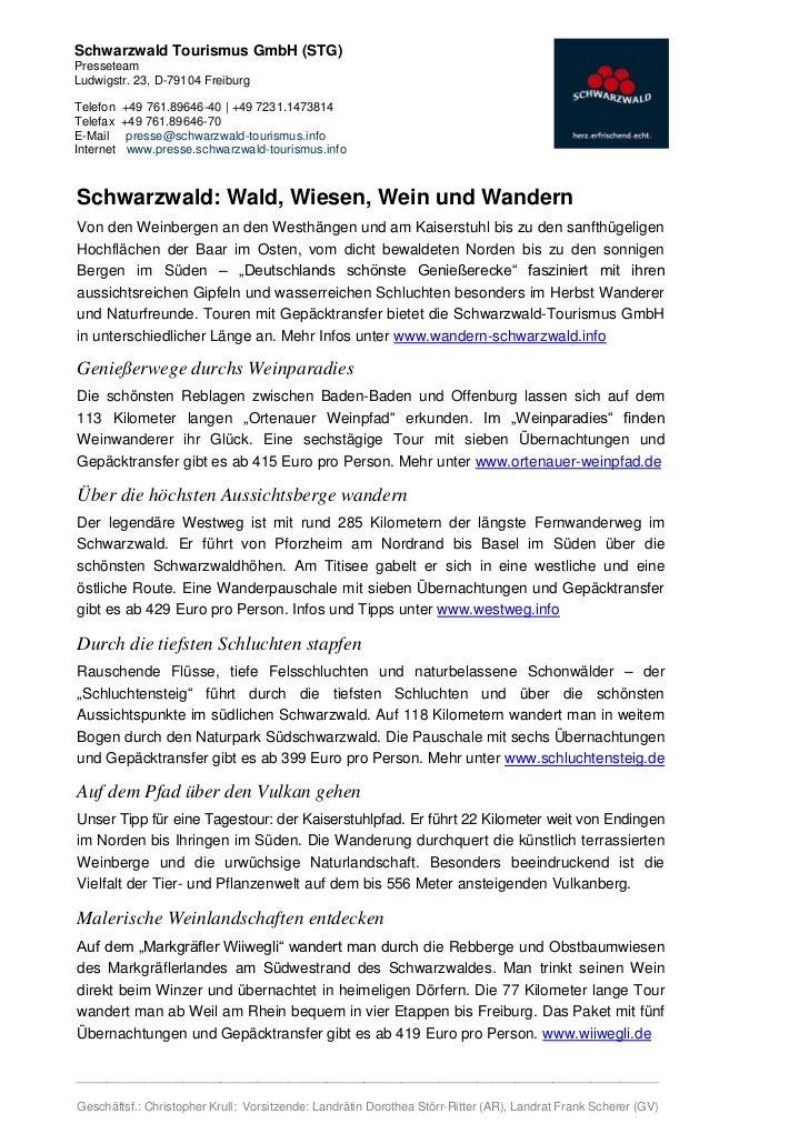 Schwarzwald Tourismus GmbH (STG)PresseteamLudwigstr. 23, D-79104 FreiburgTelefon    +49 761.89646-40 | +49 7231.1473814Tel...