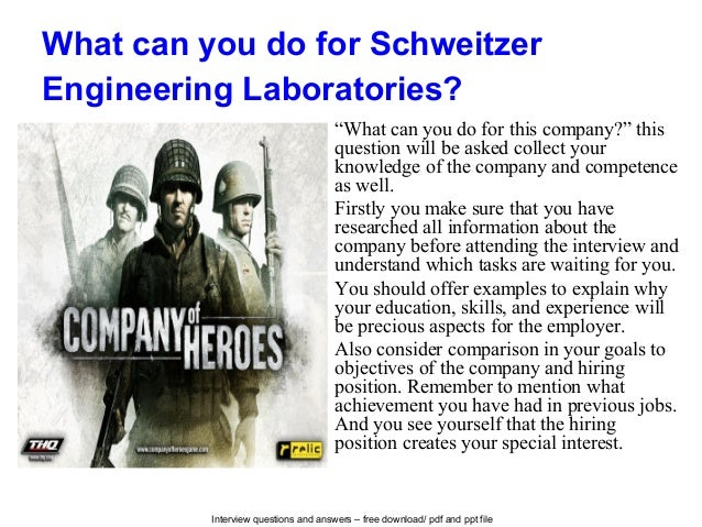 Schweitzer engineering laboratories interview questions and answers