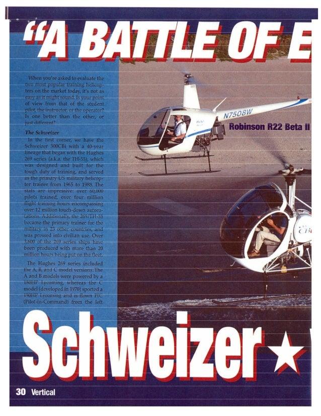 Helicóptero Schweizer 300 vs Robinson 22