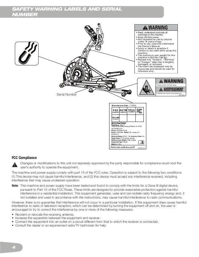 Schwinn 430 Elliptical Trainer User Manual