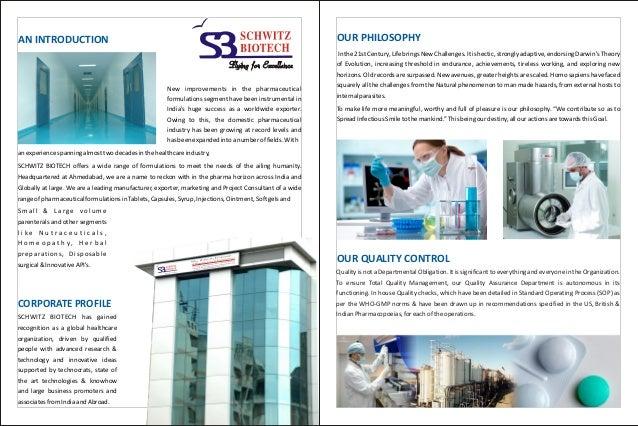 Schwitz Biotech, Ahmedabad, Pharmaceutical Formulations Slide 3