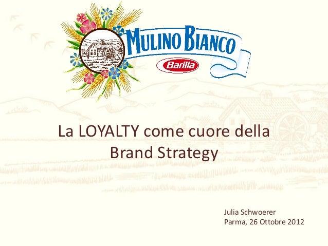 La LOYALTY come cuore della      Brand Strategy                     Julia Schwoerer                     Parma, 26 Ottobre ...