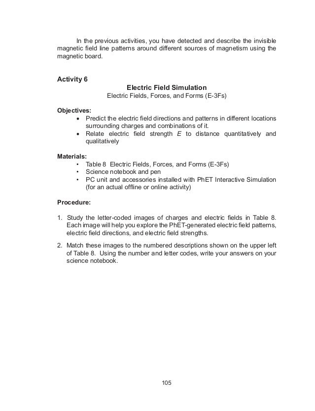 Grade 10 Science Learner Material Unit 2Force Motion and Energy – Electric Field Worksheet
