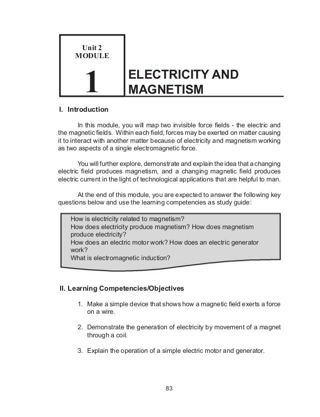 Electricity And Magnetism Answer Key
