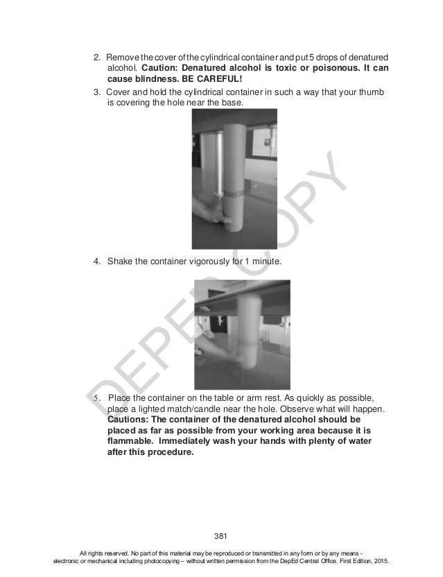 D EPED C O PY 381 3. Cover and hold the cylindrical container in such a way that your thumb is covering the hole near the ...