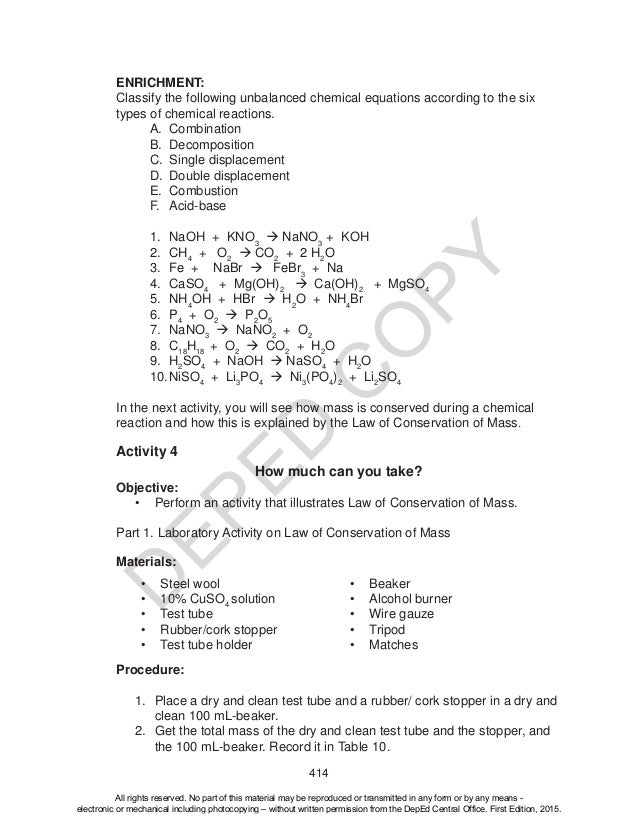Science 10 Learners Material Unit 4 – Six Types of Chemical Reaction Worksheet Answers