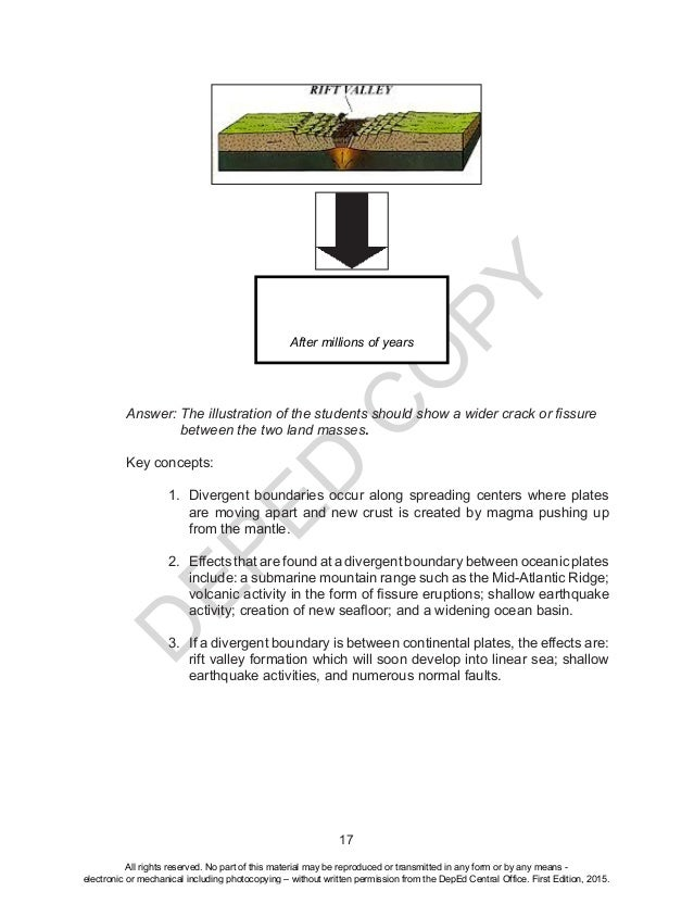 D EPED C O PY 17 Answer: The illustration of the students should show a wider crack or fissure between the two land masses...