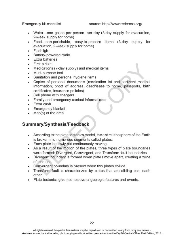 D EPED C O PY 22 Emergency kit checklist  source: http://www.redcross.org/ • Water—one gallon per person, per day (3-d...