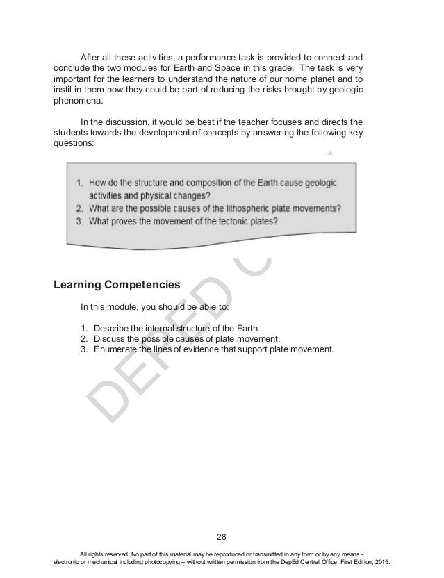 D EPED C O PY 28  After all these activities, a performance task is provided to connect and conclude the two modules for ...