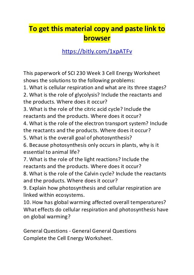 Sci 230 week 3 cell energy worksheet
