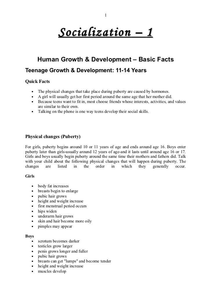 1                    Socialization – 1        Human Growth & Development – Basic FactsTeenage Growth & Development: 11-14 ...