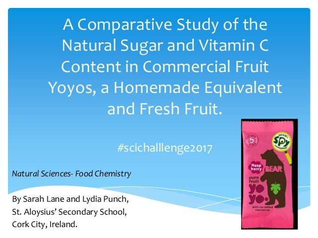 A Comparative Study of the Natural Sugar and Vitamin C Content in Commercial Fruit Yoyos, a Homemade Equivalent and Fresh ...