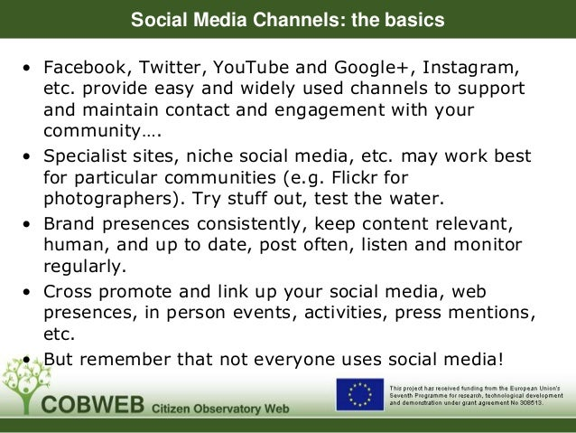 Social Media Channels: the basics • Facebook, Twitter, YouTube and Google+, Instagram, etc. provide easy and widely used c...