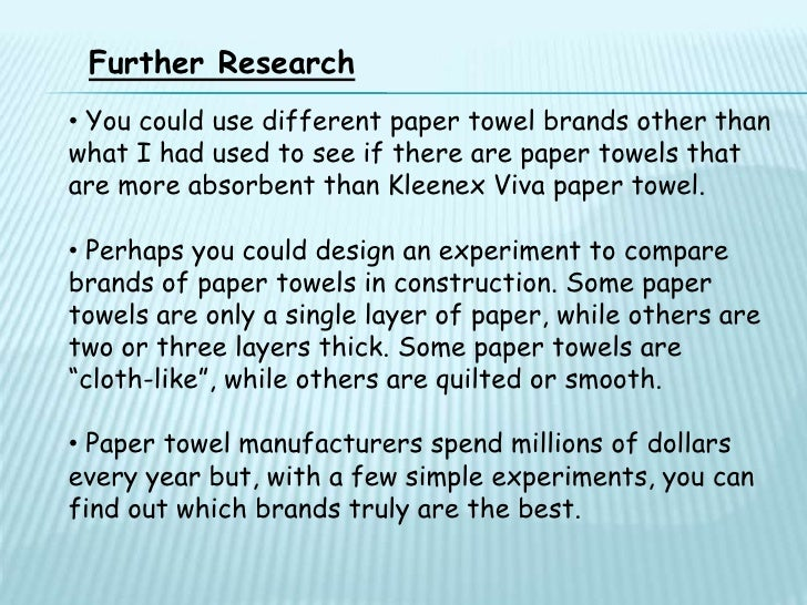 paper towel strength research