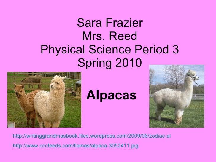 Sara Frazier Mrs. Reed Physical Science Period 3 Spring 2010 Alpacas http://writinggrandmasbook.files.wordpress.com/2009/0...