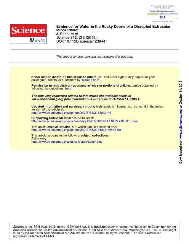 DOI: 10.1126/science.1239447 , 218 (2013);342Science et al.J. Farihi Minor Planet Evidence for Water in the Rocky Debris o...
