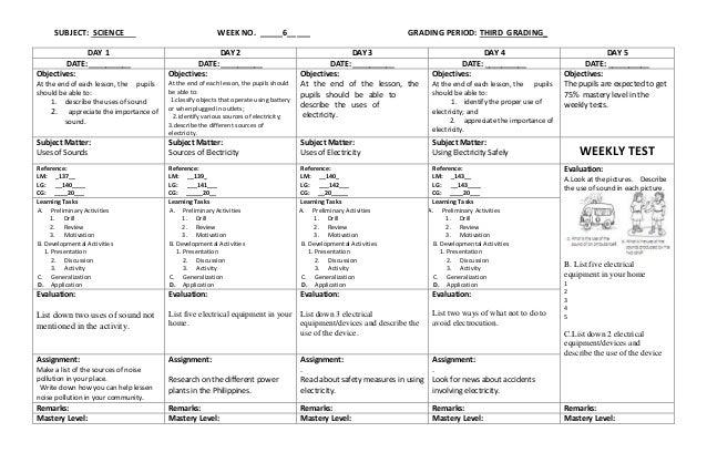 K to 12 Grade 3 DLL SCIENCE (Q1