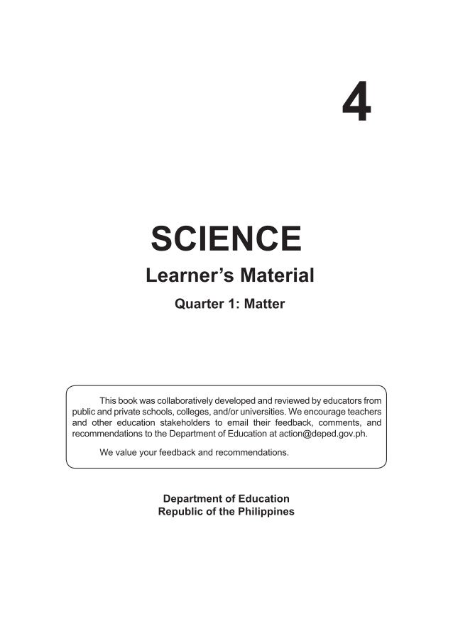 K TO 12 GRADE 4 LEARNER\'S MATERIAL IN SCIENCE (Q1-Q4)